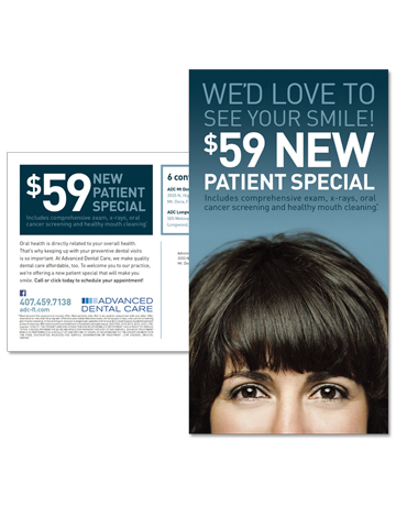 "Advanced Dental Care ""New Patient Offer"" Direct Mail"