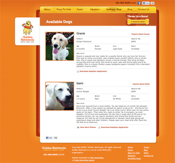 Golden Retrievals Available Dogs Page