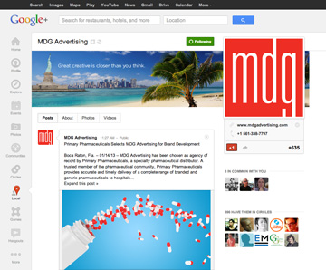 MDG Google+ Page Design