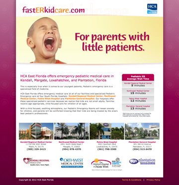 Pediatric ER Landing Page