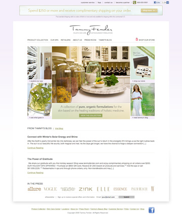 Tammy Fender Website Homepage