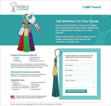 Tassels 4 A Cause Trade Show Landing Page