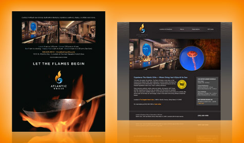 The Atlantic Grille print ad and website