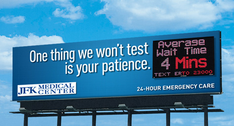 Billboards Promise That Key ER Service Feature….Speed?