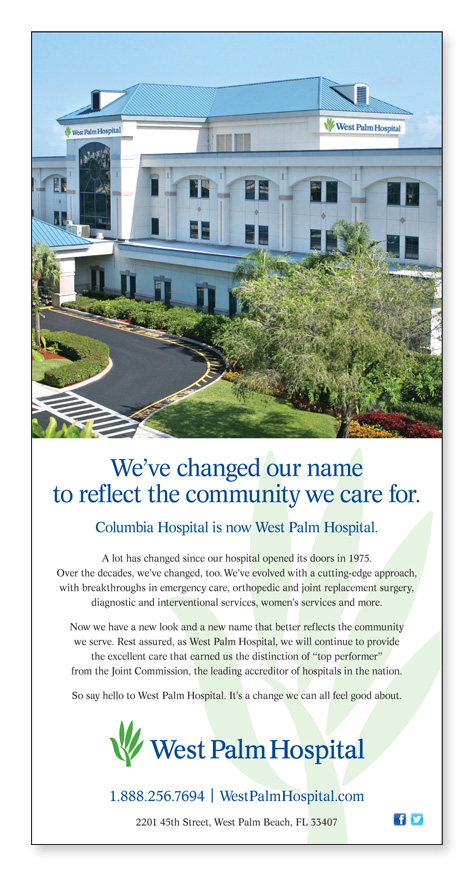 MDG Advertising Rebrands HCA's Columbia Hospital as West Palm Hospital
