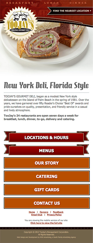 MDG Advertising Cooks Up a New Website for TooJay's Original Gourmet Deli