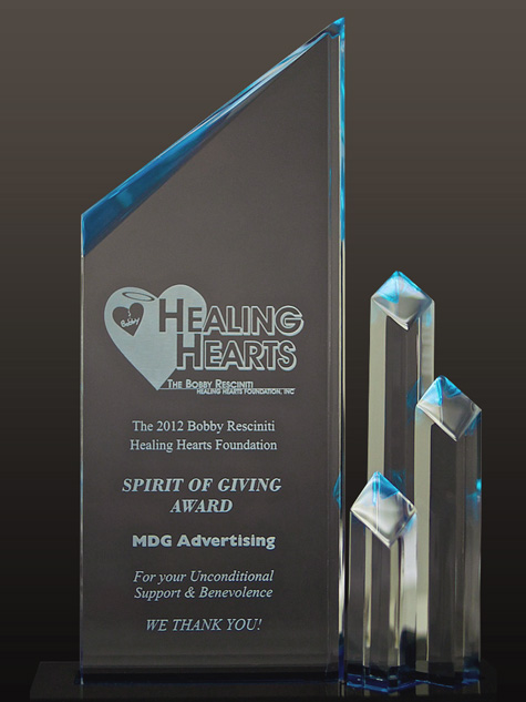 MDG Advertising Honored with Spirit of Giving Award for Creative Contributions to Bobby Resciniti Healing Hearts Foundation