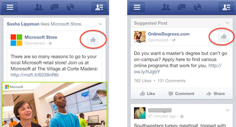 "Facebook Testing New Mobile ""Like"" Icon and App Install Ads"