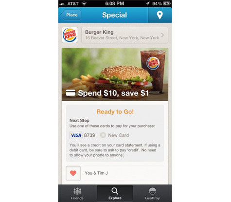 Foursquare partners with VISA and MasterCard,