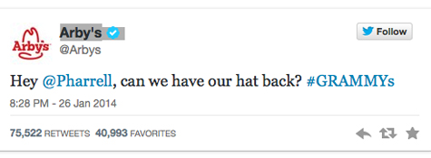 Hats Off to Arby's for Its Heady Real-Time Remark to Pharrell